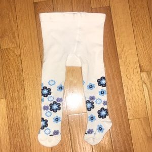 L.L. Bean Thick Tights 6-12 Months White Flowers